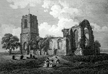 ANTIQUE PRINT: REMAINS OF COVEHITHE CHURCH, SUFFOLK.
