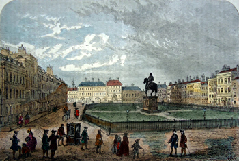 ANTIQUE PRINT: LEICESTER SQUARE, ABOUT 1750.