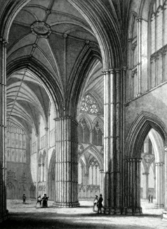 ANTIQUE PRINT: LICHFIELD CATHEDRAL. VIEW FROM THE NORTH TRANSEPT.