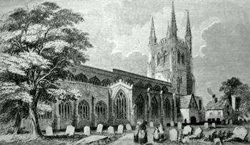 ANTIQUE PRINT: TAMWORTH CHURCH.