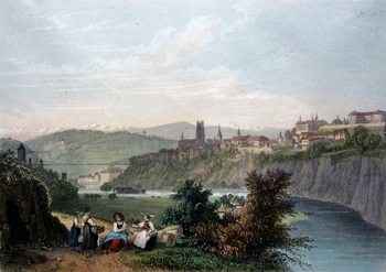ANTIQUE PRINT: FRIBOURG.
