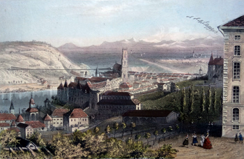 Antique print of Fribourg