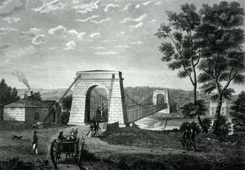 ANTIQUE PRINT: Chain Bridge, over the South Tyne, at the West Boat near Hexham, Northumberland