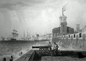 Antique print of Portsmouth