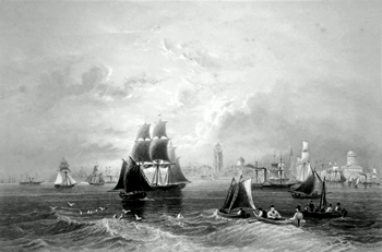 ANTIQUE PRINT: THE MERSEY AT LIVERPOOL.