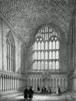 ANTIQUE PRINT: CANTERBURY CATHEDRAL, VIEW OF THE CHAPTER HOUSE.