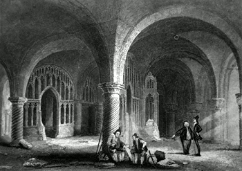 ANTIQUE PRINT: CANTERBURY CATHEDRAL. THE UNDERCROFT.