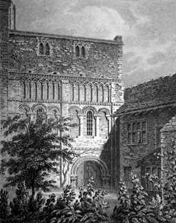 ANTIQUE PRINT: THE TREASURY, CANTERBURY CATHEDRAL.