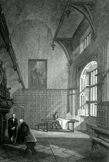ANTIQUE PRINT: THE CHARTER HOUSE. INTERIOR OF THE GREAT HALL.