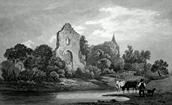 ANTIQUE PRINT: RUINS OF THE EPISCOPAL PALACE AT HALLING. KENT. FIVE MILES SOUTH OF ROCHESTER.