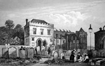 ANTIQUE PRINT: THE REMAINS OF THE COLLEGE AT MAIDSTONE. KENT. FOUNDED BY ARCHBISHOP COURTNEY.