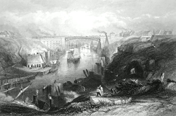 ANTIQUE PRINT: SUNDERLAND. (THE BRIDGE FROM THE WESTWARD.)