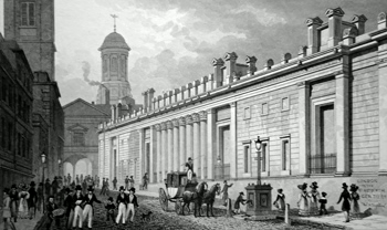 ANTIQUE PRINT: EAST FRONT OF THE BANK OF ENGLAND, AND NEW TOWER OF ROYAL EXCHANGE, FROM ST. BARTHOLOMEW LANE.