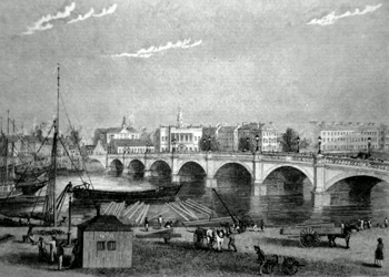 ANTIQUE PRINT: GLASGOW BRIDGE.