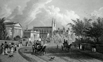 ANTIQUE PRINT: VIEW IN THE REGENT'S PARK; EAST GATE, A VILLA AND ST. KATHERINE'S HOSPITAL.
