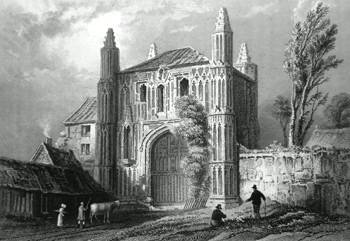 ANTIQUE PRINT: GATEWAY OF ST. JOHN'S ABBEY, COLCHESTER. ESSEX.
