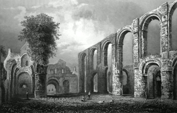 ANTIQUE PRINT: ST. BOTOLPH'S PRIORY CHURCH, COLCHESTER. ESSEX.