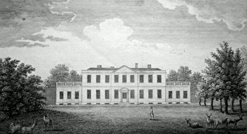 ANTIQUE PRINT: NAVESTOCK HALL IN ESSEX, THE SEAT OF THE EARL OF WALDEGRAVE.