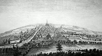 ANTIQUE PRINT: THE SOUTH WEST VIEW OF GUILDFORD, IN SURREY.