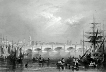 ANTIQUE PRINT: NEW BRIDGE AND BROMIELAW, GLASGOW.