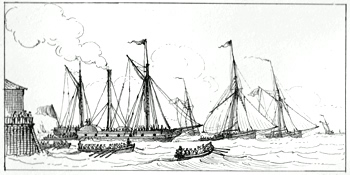 ANTIQUE PRINT: TROOPS EMBARKING FROM COWES.