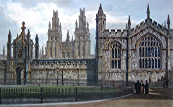 ANTIQUE PRINT: WEST FRONT OF ALL SOULS COLLEGE [OXFORD].