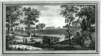 ANTIQUE PRINT: A VIEW OF DITCHLEY IN OXFORDSHIRE THE SEAT OF THE EARL OF LITCHFIELD.