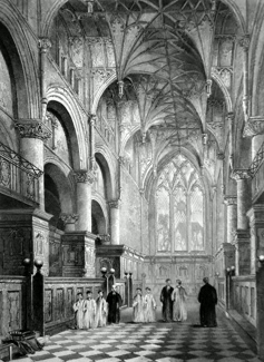 ANTIQUE PRINT: OXFORD CATHEDRAL. THE CHOIR.