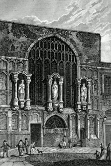 ANTIQUE PRINT: VIEW OF THE CHAPEL OF ST. MARY MAGDALEN GUILDHALL.