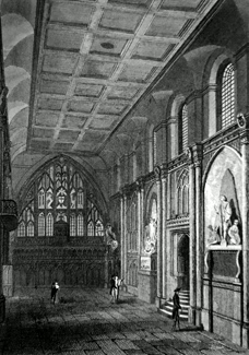 ANTIQUE PRINT: INTERIOR OF GUILDHALL, LONDON.