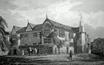 ANTIQUE PRINT: SPEKE HALL. TO RICHARD WATTS, ESQ. THIS PLATE IS RESPECTFULLY INSCRIBED, BY THE PUBLISHERS.
