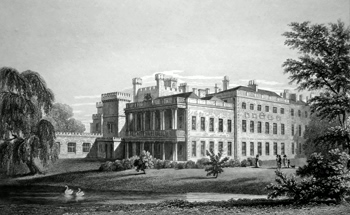 ANTIQUE PRINT: SOUTH EAST FRONT OF KNOWSLEY HALL. THE RESIDENCE OF THE RIGHT HON. THE EARL OF DERBY, TO WHOM THIS PLATE IS WITH GREAT RESPECT DEDICATED BY THE PUBLISHERS.
