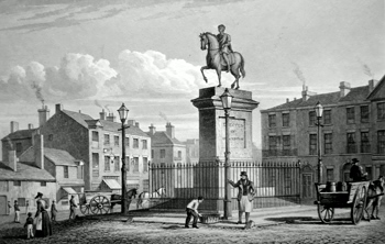 ANTIQUE PRINT: STATUE OF GEORGE III. LONDON ROAD. THIS PLATE IS RESPECTFULLY DEDICATED TO R. WESTMACOTT, ESQ. PROFESSOR OF SCULPTURE, R.A.