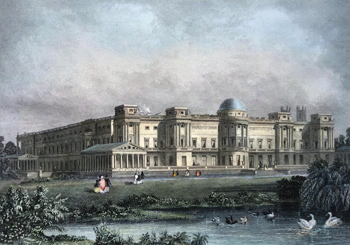 ANTIQUE PRINT: BUCKINGHAM PALACE. FROM THE PRIVATE GROUNDS.