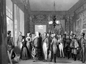 ANTIQUE PRINT: ST. JAMES' PALACE. THE AUDIENCE CHAMBER. PROCLAMATION OF HER MAJESTY THE QUEEN.