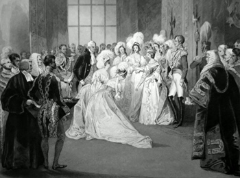 ANTIQUE PRINT: [ST. JAMES'S PALACE] DRAWING ROOM OF QUEEN VICTORIA. CEREMONY OF PRESENTATION.