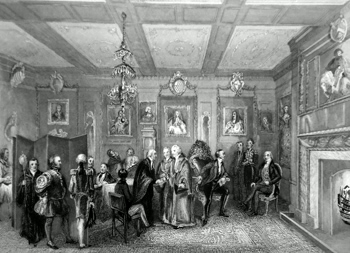 ANTIQUE PRINT: [VINTNERS' HALL] COUNCIL CHAMBER, VINTNER'S HALL. VINTNER SHERRIFF RECEIVING THE CONGRATULATIONS OF THE COMPANY.