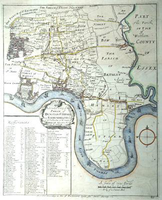 ANTIQUE MAP : AN ACTUALL SURVEY OF THE PARISH OF ST. DUNSTAN STEPNEY, ALIAS STEBUNHEATH BEING ONE OF THE TEN PARISHES OF MIDDLESEX ADJACENT TO THE CITY OF LONDON.