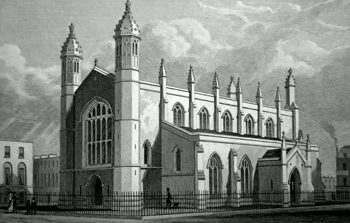 ANTIQUE PRINT: [ISLINGTON] TRINITY CHURCH, CLOUDESLEY SQUARE.