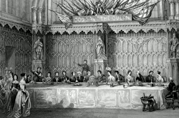 ANTIQUE PRINT: LORD MAYOR'S TABLE, GUILDHALL. GREAT BANQUET ON THE 9TH NOVEMBER.