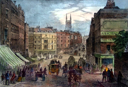 ANTIQUE PRINT: HOLBORN VALLEY AND SNOW HILL PREVIOUS TO THE CONSTRUCTION OF THE VIADUCT.