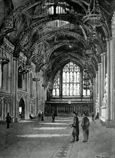 ANTIQUE PRINT: THE GUILDHALL – GREAT HALL.