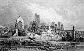 ANTIQUE PRINT: CANTERBURY CATHEDRAL, REMAINS OF ST. ETHELBERT'S TOWER, & ST. AUGUSTINE'S MONASTERY. KENT.