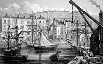 ANTIQUE PRINT: THE QUAY AT RAMSGATE.