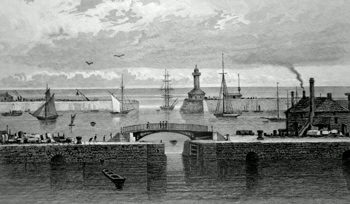ANTIQUE PRINT: RAMSGATE HARBOUR AND LIGHT HOUSE. KENT.