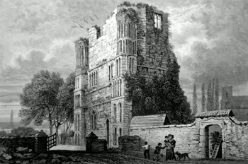 ANTIQUE PRINT: MALLING ABBEY.