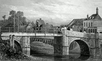 ANTIQUE PRINT: THE DRAWBRIDGE AT SANDWICH. KENT.