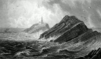 ANTIQUE PRINT: THE MUMBLES LIGHT HOUSE, GLAMORGANSHIRE.