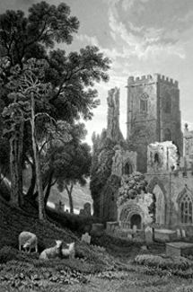 ANTIQUE PRINT: LLANDAFF CATHEDRAL, GLAMORGANSHIRE.