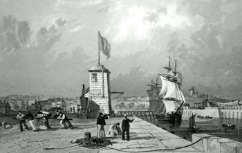 ANTIQUE PRINT: SUNDERLAND HARBOUR, FROM THE PIER, DURHAM.
